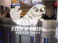 Fish and Chip Shop Chippy Window Sign Decal by BannersandStickers