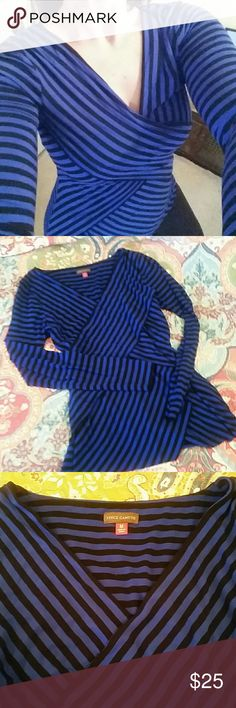 Black and Blue Vince Camuto Top Stunning royal blue and black striped rayon spandex top. Deep v neck and criss cross faux wrapped front that adds interest and slims the middle. Bundle and save! Vince Camuto Tops Blouses