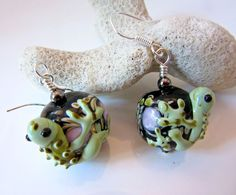 Frog Earrings Lampwork Frogs Glass Tree Frogs by JewelryArtByDawn