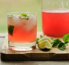 Make use of the last of the good rhubarb with this rhubarb-lemon balm margarita!