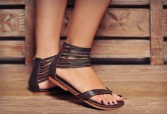 Molle. Brown thong style sandals / Womens leather by BaliELF, $80.00