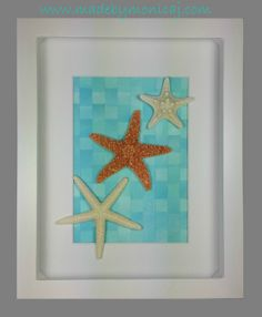 8x10 Shadow box frame.  Twinkle, twinkle, little star.  White starfish, sugar starfish, knobby starfish displayed on a woven hand painted paper background.