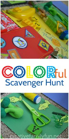 Hunt for colors all around the house with this easy preschool scavenger hunt.