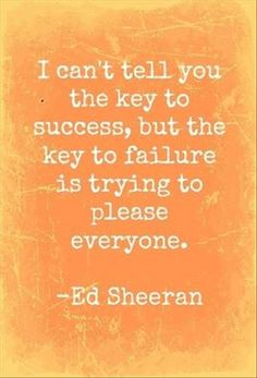 I can't tell you the key to success but the key to failure is trying to please everyone.  ~Ed Sheeran