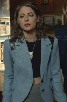 Thea's blue blazer with leather shoulders on Arrow.  Outfit Details: http://wornontv.net/30817/ #Arrow
