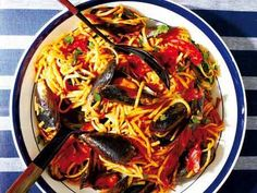 Toasted Linguine with Tomato, Chorizo and Mussels