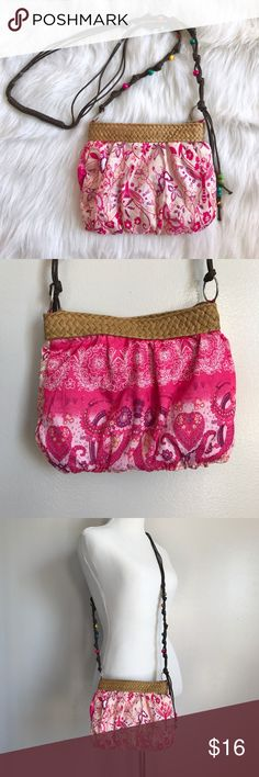 "Pink Boho Crossbody Pink cloth pattern bohemian style crossbody. Zip closure. Measurements: 9"" x 7"" Bags Crossbody Bags"
