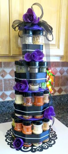 Bridal Shower Idea ~ Instead of a towel cake use spices to make a Spice Bottle C. - Bridal Shower Idea ~ Instead of a towel cake use spices to make a Spice Bottle Cake… Photo only b - Bridal Shower Cakes, Wedding Shower Gifts, Wedding Gifts, Creative Gifts, Cool Gifts, Creative Gift Baskets, Bottle Cake, Spice Bottles, Gift Cake