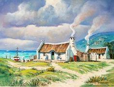 Hannes van der Walt - Fishermen's Haven African Art Paintings, Seascape Paintings, Landscape Paintings, Fishermans Cottage, South African Artists, Boat Painting, Cottage Art, Beach Art, Art Oil