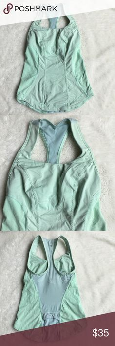 Lululemon Cardio Kick Mint Tank Top Size 2 Preowned authentic Lululemon Mint Tank Top Size 2. Has builtin bra. Please look at pictures for better reference. Happy shopping! lululemon athletica Tops Tank Tops