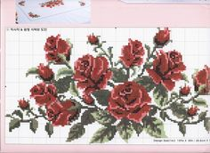 Cross Stitch Fruit, Cute Cross Stitch, Cross Stitch Rose, Counted Cross Stitch Kits, Cross Stitch Flowers, Cross Stitch Charts, Cross Stitch Patterns, Embroidery Tattoo, Beaded Embroidery