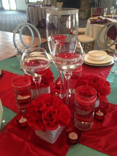 Red and turquoise centerpiece, candlescape with rhinestones created for Taste and Tour @Merle Manders Center, Stockbridge, Ga