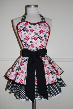 Red, White, and Black Pinup Full Retro 50s Circle Skirt Apron by CRACKERJACK COUNTY. $45.00, via Etsy.