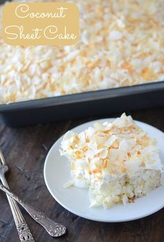 Coconut Sheet Cake - super easy throw to together with a mix and still have it be fancy and delish!! Cupcake Frosting, Cupcake Cakes, Cream Frosting, Cupcakes, Cookie Desserts, Just Desserts, Delicious Desserts, Trifle Desserts, Coconut Sheet Cakes
