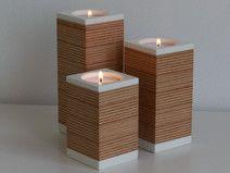 kerzenHOLZ - moderne Teelichthalter im 3er-Set aus Buchen-Multiplex-Holz in Kombination mit weißem Mineralwerkstoff, für kuschelige Abende mit Kerzenlicht