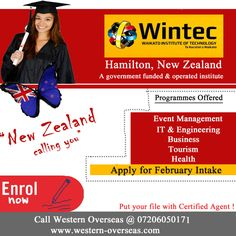 #Study in #Newzealand at #Wintec Institute, #Hamilton - Apply for February #INTAKE - Enroll Now for Offer letter.