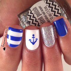 Nautical nail design == Nail art supply store: https://www.etsy.com/shop/LaPalomaBoutique