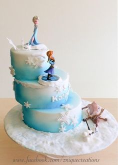I did not make Anna or Elsa as bought as gifts) but here is the whole cake. Stacked like steps for extra effect. Finally got to make one too ;)