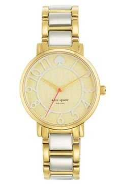 kate spade new york 'gramercy' round bracelet watch, gold and silver