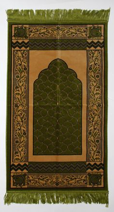 Green Floral Lace Pattern Islamic Prayer Rug
