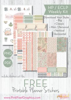 Free Printable Garden Mist Planner Stickers Kit {email required}. www.pinkpixelgraphics.com