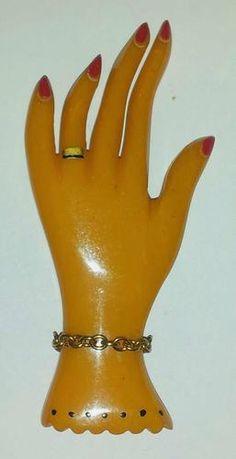 BAKELITE Carved Painted Figural Ladies HAND Brooch Pin