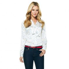 Women's Blouses - Scattered Dot Printed Tie Front Blouse | C. Wonder