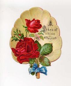Victorian  Greeting Card - Lovely Die Cut Fan With Roses - Late 1800's