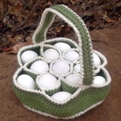 Here another crocheted egg collecting basket added to my beautiful collection. Perfect for collecting chicken and duck eggs. I get plenty of use everyday with my basket when I go collect from my ladies! Definitely a farm girls' favorite!