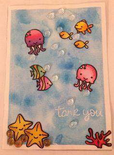 Lawn fawn fintastic Friends Card mit Aquarellfarben