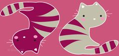 Kitty in Pink custom fabric by for sale on Spoonflower Graphic Illustration, Cat Illustrations, Cat Colors, Colours, The Pussycat, All About Cats, Cat Design, Pink Fabric, Cat Art