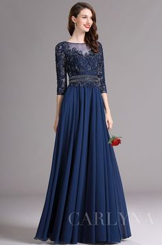 Carlyna Blue Illusion Formal Dress with Sweetheart Neckline Supernatural Style Navy Evening Dresses, Prom Dresses For Sale, Evening Gowns, Dress Sale, Formal Dresses With Sleeves, Formal Gowns, Pretty Dresses, Beautiful Dresses, Mom Dress