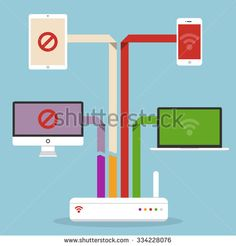 Wireless router and devices. Wireless connection. Broken connection. Flat design style. Concept of social media, smart house, global connection.Network problems. - stock vector