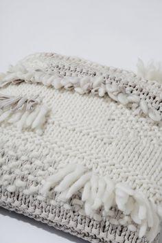 Crazy cushion of love by Wool and the Gang. DIY knit cushion with gorgeous textures. Give away!