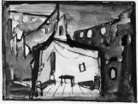 "Scenery design for the staging of ""Yesterday and the Day before Yesterday"", 1950"