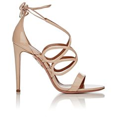 Aquazzura Women's Gigi Ankle-Tie Sandals (3 315 PLN) ❤ liked on Polyvore featuring shoes, sandals, heels, accessories, nude, high heel stilettos, strappy sandals, ankle strap high heel sandals, nude heel sandals and nude sandals