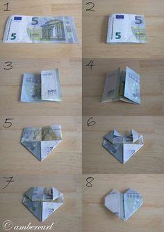 Dollar Bill Origami, Money Origami, Origami Easy, Diy Birthday, Birthday Gifts, Don D'argent, Diy Wedding, Wedding Gifts, Creative Money Gifts