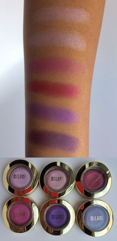 Milani Cosmetics Bella Eyes Gel Powder Eyeshadows offer rich, vibrant color that glides on in a single stroke, delivering a stunning multi-dimensional effect. The colors shown here are Bella Rose, Bella Pink, Bella Fuchsia, Bella Rouge, Bella Violet, and Bella Purple!