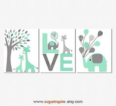 Mint and grey Nursery Art Print Set Kids Room by SugarInspire