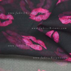 Lips Silk Chiffon in fuchsia and black by fabricAsians
