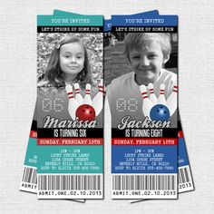 Admit One!  BOWLING BIRTHDAY PARTY TICKET INVITATIONS - (Printable)  Any color scheme!  Works great for cosmic bowling too!