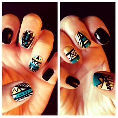 Easy tribal short nails.