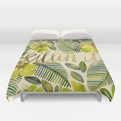 """Killin' It – Tropical Yellow"" Duvet Cover by Cat Coquillette on Society6."