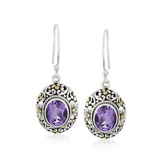 Balinese 5.00 ct. t.w. Amethyst Earrings in Sterling Silver and 14kt Yellow Gold