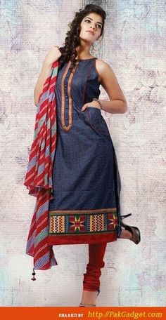Denim Kurti. Read more http://fashionpro.me/23-types-of-kurti-designs/4