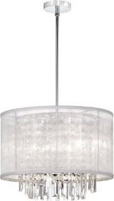 Dainolite 3-Light Crystal Pendant with White Organza Shade