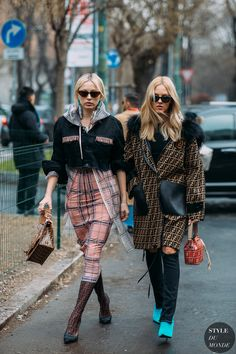 Milan FW 2018 Street Style: Caroline Vreeland and Shea Marie Street Style Chic, Looks Street Style, Autumn Street Style, Cool Street Fashion, Outfits Otoño, Fashion Outfits, Ootd Fashion, Fashion Pants, Mode Dope