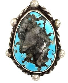 Navajo hand-wrought sterling silver ring set with a fine Cerrillos Mine turquoise stone. Deep sky blue with black matrix filled with quartz inclusions. Old Jewelry, Modern Jewelry, Silver Jewelry, Vintage Jewelry, Turquoise Jewellery, Turquoise Bracelet, Gift Suggestions, Western Style, Leather Belts