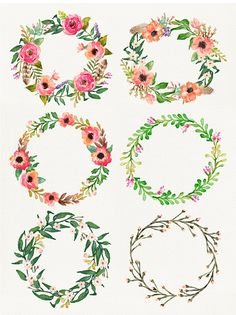 6 Watercolor flower wreathes