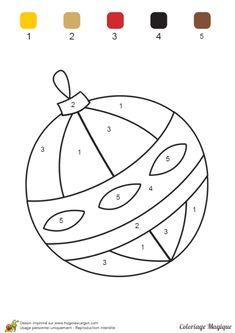 Coloriage magique maternelle boule noel